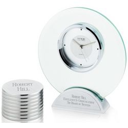 Round Glass Clock and Paperweight