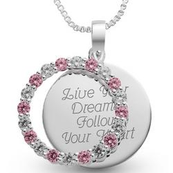 October Birthstone Pendant Necklace with Heart Shaped Box
