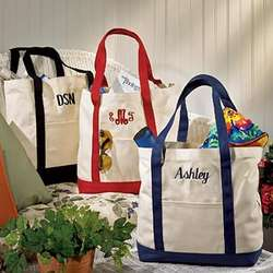 Personalized Canvas Tote Bag with Colored Handles