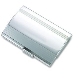 Silver Tone Business Card Holder with Lined Pattern
