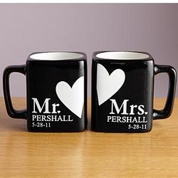 Personalized Mr. and Mrs. Black Mug Set