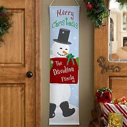 Personalized Christmas Snowman Door Banner