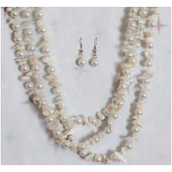Demure Faux Pearl and Stone Necklace Earring Set