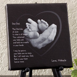 Dad's Loving Hands Personalized Canvas Art