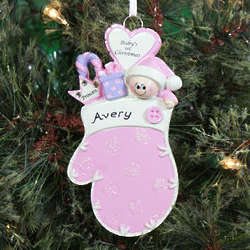 Baby's First Christmas Pink Mitten Ornament