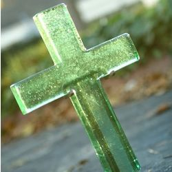 Hope Glass Spring Green Cross with Stand