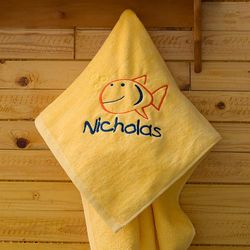 Sunshine Yellow Go Fish Beach Towel