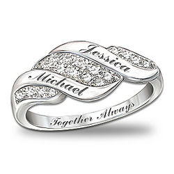 Sterling Silver Cascade of Love Personalized Diamond Ring