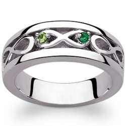 Sterling Silver Couple's Birthstone Infinity Engraved Ring