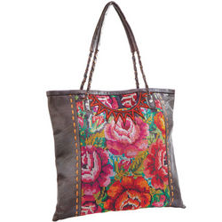 Embroidered Mayan Leather Bag