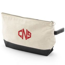 Natural and Black Canvas Cosmetic Bag