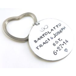 Couple's Personalized Infinity and Love Hand Stamped Keychain