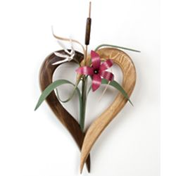 Wood Heart Wall Vase with Wildflowers