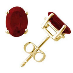 Oval Ruby Earrings Set in 14k Yellow Gold