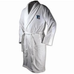 Detroit Tigers White Terrycloth Logo Bathrobe