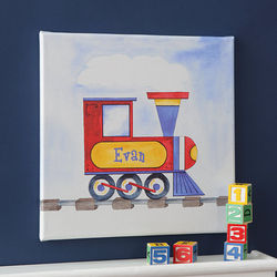 Personalized Train Canvas Art for Kids