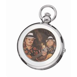 Silver Tone Picture Frame Pocket Watch
