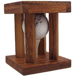 Caged Golf Ball Wooden Puzzle