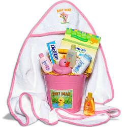 Baby Girl's Bath Time Gift Basket