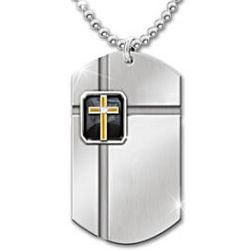 The Lord's Prayer Strength In Faith Onyx Dog Tag Pendant