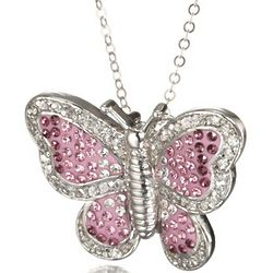 Pink and Purple Crystal Butterfly Necklace in Sterling Silver
