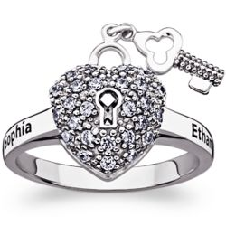 Sterling Silver Couple's Heart Lock and Key Cubic Zirconia Ring