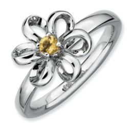 Sterling Silver Stackable Citrine Flower Ring