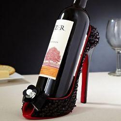 Black Sequin Shoe Wine Holder