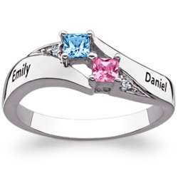 Sterling Silver Couple's Name and Square Birthstone Ring