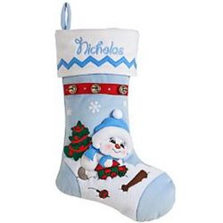 Boy with Train Personalized Snow Buddies Christmas Stocking