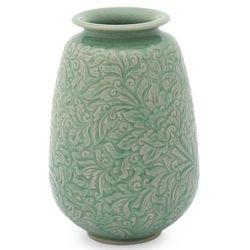 Divine Profusion Celadon Ceramic Vase