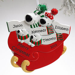 Personalized Polar Bear Family of Four Christmas Ornament