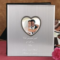 Heart Cutout Brushed Metal Photo Album