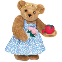 Sewing Teddy Bear with Pink Roses