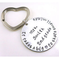 Big Hearted Teacher Personalized Hand Stamped Keychain