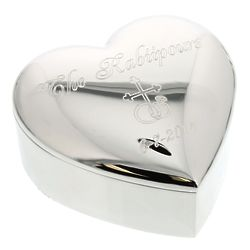 Personalized Silver Heart Wedding Ring Box