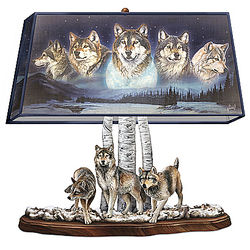 Sculpted Wolves Base and Wolf Art Shade Lamp