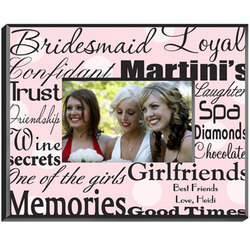 Personalized Bridesmaid Frame - Black on Pink