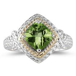 Peridot Ring in 14K Yellow Gold and Silver
