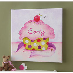 Personalized Cupcake Canvas Art for Girls