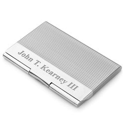 Engine Turned Silver Plated Business Card Holder