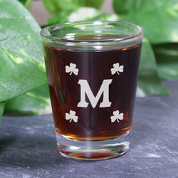 Engraved Shamrock Shot Glass