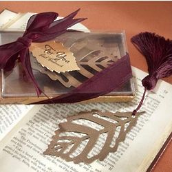 Turning Leaves Bookmark Favors with Silk Tassel
