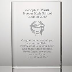 Personalized Crystal Book Graduation Plaque