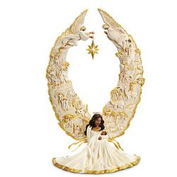 Thomas Kinkade Illuminated African American Angel Sculpture