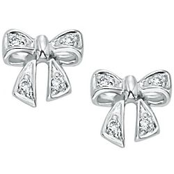 14k White Gold Diamond Snow White Bow Stud Earrings