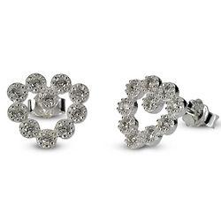 Heart Bezel Cubic Zirconia Stud Earrings