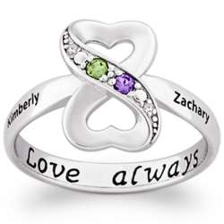 Couple's Infinity Heart Birthstone and Diamond Ring