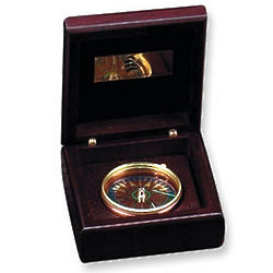 Compass in a Wood Box with Engravable Inside Plate