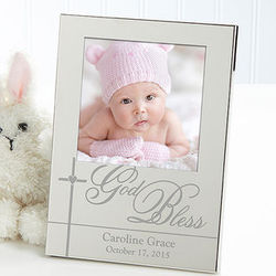 God Bless Baby Personalized Silver Picture Frame